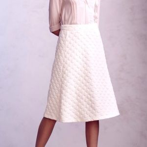 anthro HD IN PARIS ivory dotted jacquard skirt XS
